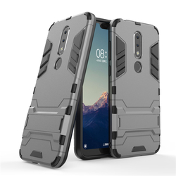 Husa Nokia 7.1 Mobster Hybrid Stand Shell – Grey