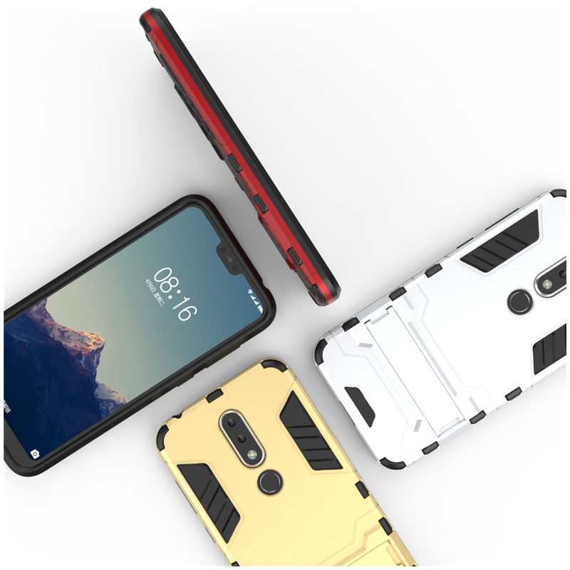 Husa Nokia 7.1 Mobster Hybrid Stand Shell – Royal Gold