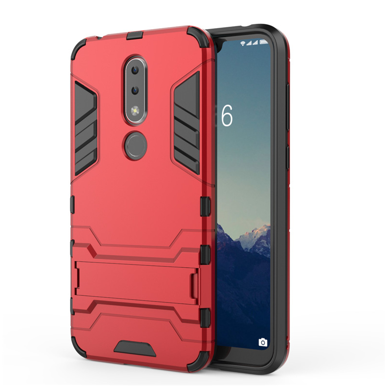 Husa Nokia 7.1 Mobster Hybrid Stand Shell – Red