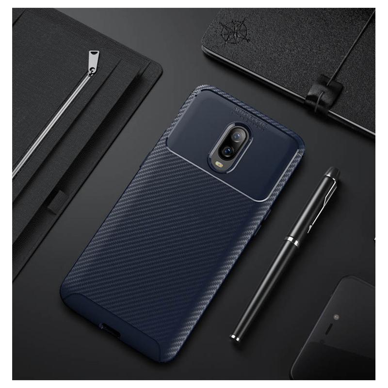 Husa OnePlus 6T Mobster Carbon Skin Albastru