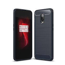 Husa OnePlus 6T TPU Carbon Albastru