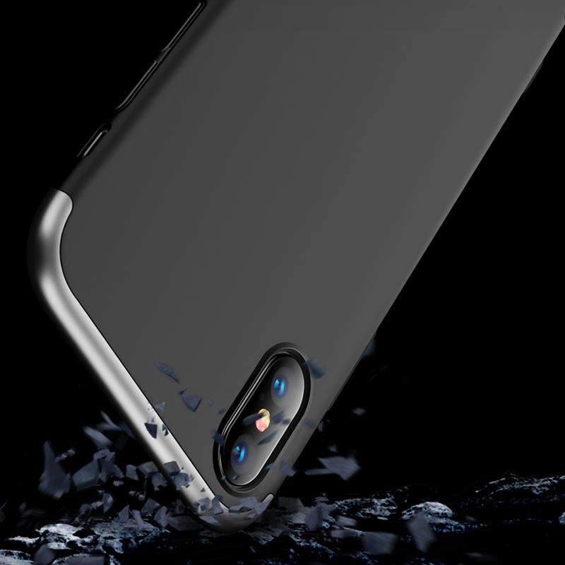 Husa iPhone XS Max GKK 360 Full Cover Negru-Argintiu