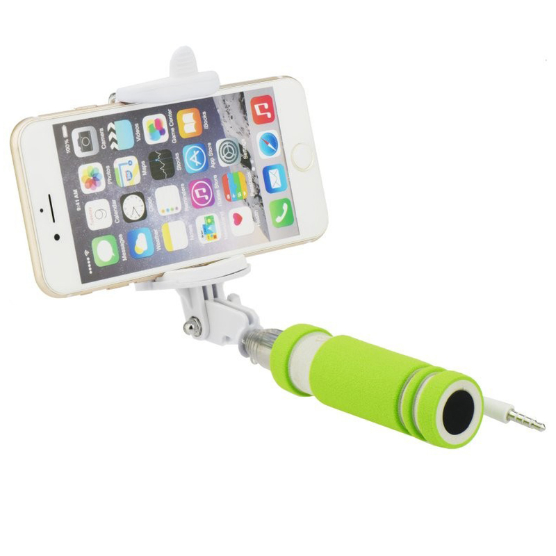 Mini Suport Selfie Blun Mini Jack 3.5mm - Verde