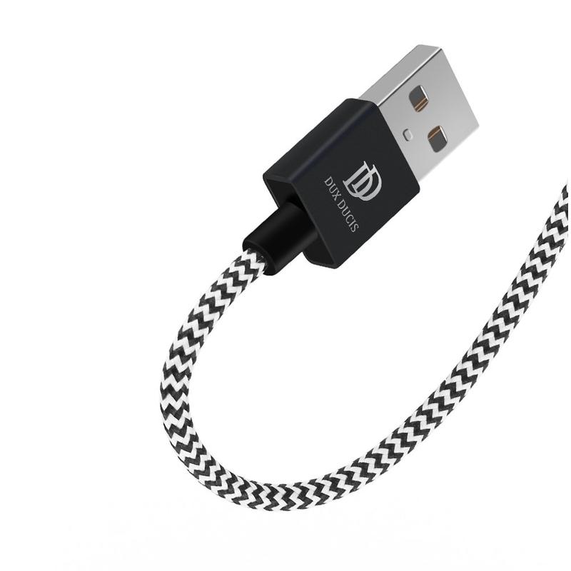 Cablu de date Dux Ducis K-One USB la Micro-USB, 25cm, 2.1A, alb-negru