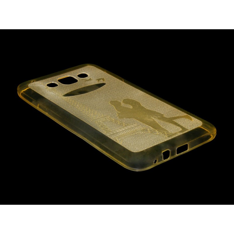 Husa Samsung Galaxy E7 SM-E700  Silicon Gel TPU Galben Model 01