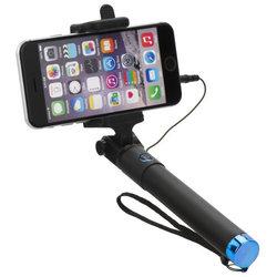 Suport Selfie Stick Blun, Jack 3.5mm, extensibil pana la 75cm, negru-albastru