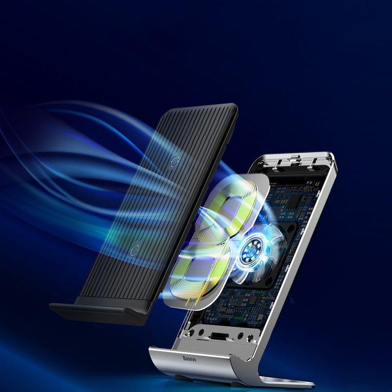 Incarcator Wireless Baseus Vertical Cu Ventilator - Negru