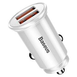 Incarcator Auto Baseus Circular QC 3.0 Dual USB 5.0A - Alb