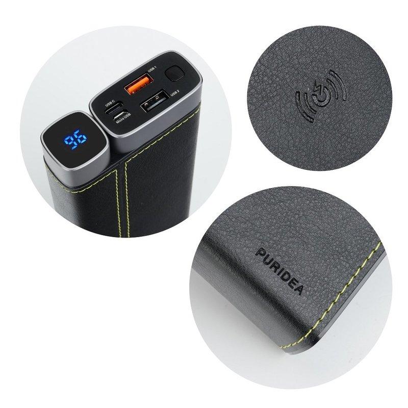 Acumulator extern 15000 mAh Puridea ProX 2xUSB si Incarcare Wireless - Negru