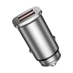Incarcator Auto Baseus Square QC 3.0 Dual USB 5.0A - Argintiu