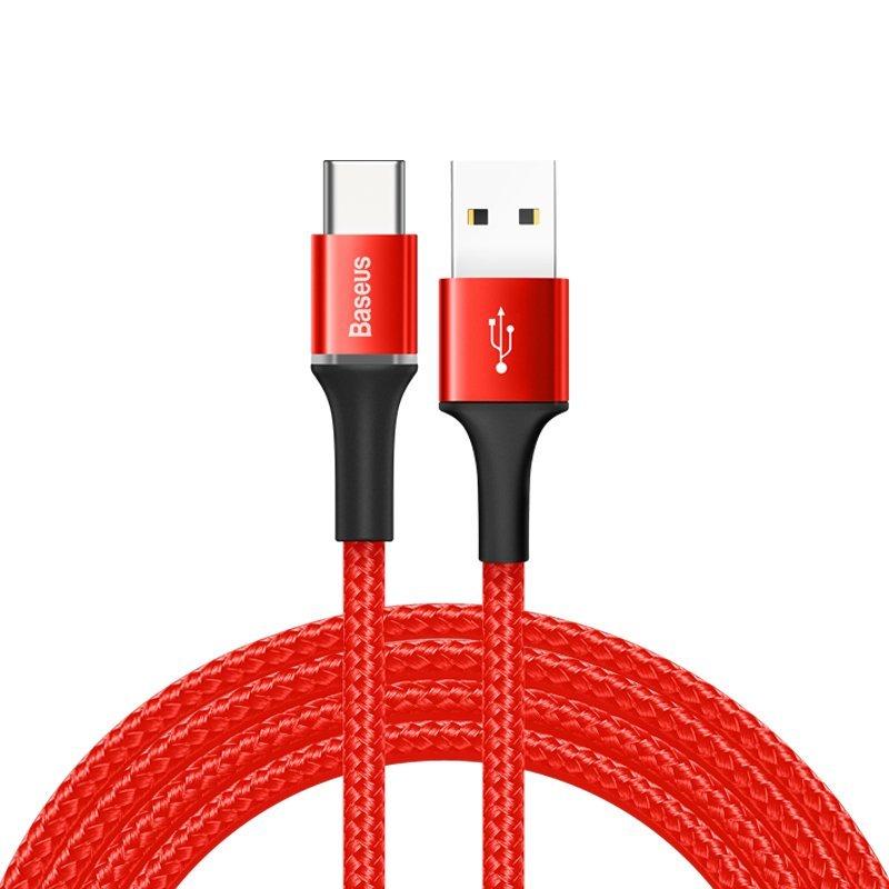 Cablu de date Baseus Halo 50CM USB - USB Type-C 3.0A - Rosu CATGH-A09