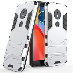 Husa Motorola Moto E5 Plus Mobster Hybrid Stand Shell – Silver