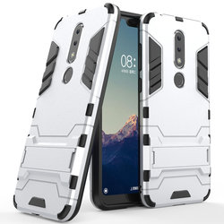 Husa Nokia 7.1 Mobster Hybrid Stand Shell – Silver