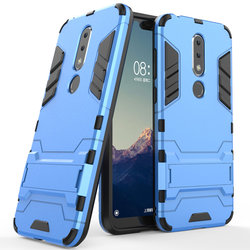 Husa Nokia 7.1 Mobster Hybrid Stand Shell – Blue