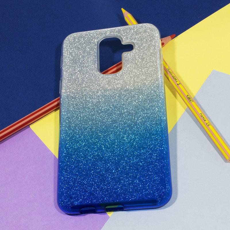 Husa Samsung Galaxy A6 Plus 2018 Gradient Color TPU Sclipici - Albastru