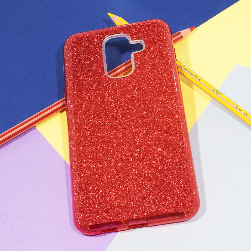 Husa Samsung Galaxy A6 Plus 2018 Color TPU Sclipici - Rosu