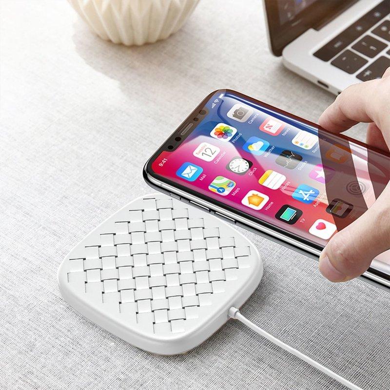 Incarcator Wireless Baseus BV Desktop 10W Pentru Android Si IOS Cu Cablu De 1.2M - Alb