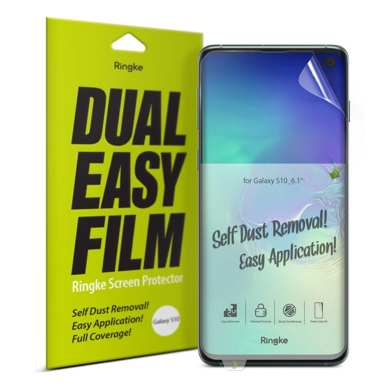 Folie Protectie FullCover Samsung Galaxy S10 Ringke Dual Easy(2 Pack) - Clear