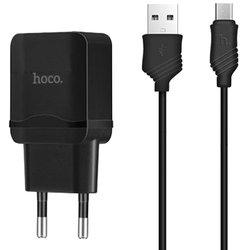 Incarcator Priza Hoco C22A 2.4A Fast Charge + Cablu Micro USB - Negru