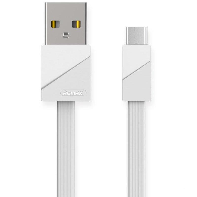 Cablu de date Type-C Remax Flat RC-105a 1M 2.4A lungime 100cm - Alb