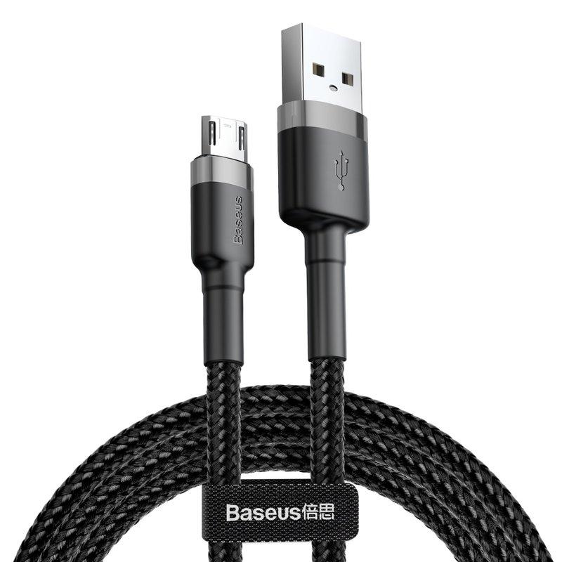 Cablu de date Micro-USB Baseus Cafule 0.5M Lungime Cu Invelis Textil - Negru - Gri CAMKLF-AG1