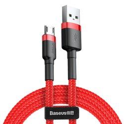 Cablu de date Micro-USB Baseus Cafule 2.0M Lungime Cu Invelis Textil - Rosu CAMKLF-C09