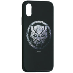 Husa iPhone XS Premium Glass Cu Licenta Marvel - Black Panther Logo