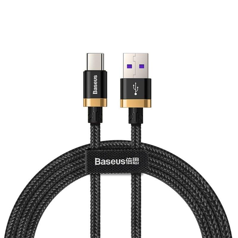 Cablu de date Type-C Baseus Flash Charge 1M Lungime Cu Invelis Textil - Black CATZH-AV1