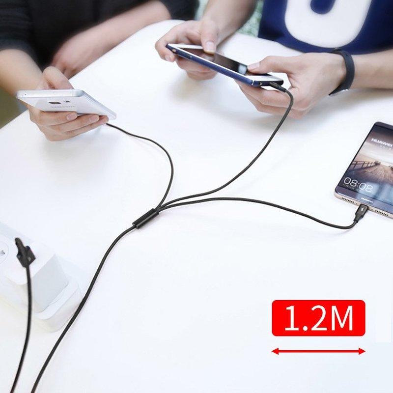 Cablu de date 1.2M 3in1 Baseus Rapid USB-C, Lightning, Micro-USB - Negru CAMLT-SU01