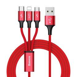 Cablu de date 1.2M 3in1 Baseus Rapid USB-C, Lightning, Micro-USB - Rosu CAMLT-SU09