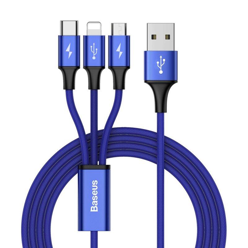 Cablu de date 1.2M 3in1 Baseus Rapid USB-C, Lightning, Micro-USB - Albastru CAMLT-SU13