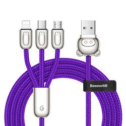 Cablu de date 1.2M 3in1 Baseus Little Pigs USB-C, Lightning, Micro-USB - Mov CAMLT-PG03