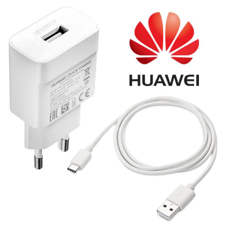 Incarcator Priza Original Huawei  SuperCharge + Cablu de Date Type-C HW-050450E00 - Alb Bulk