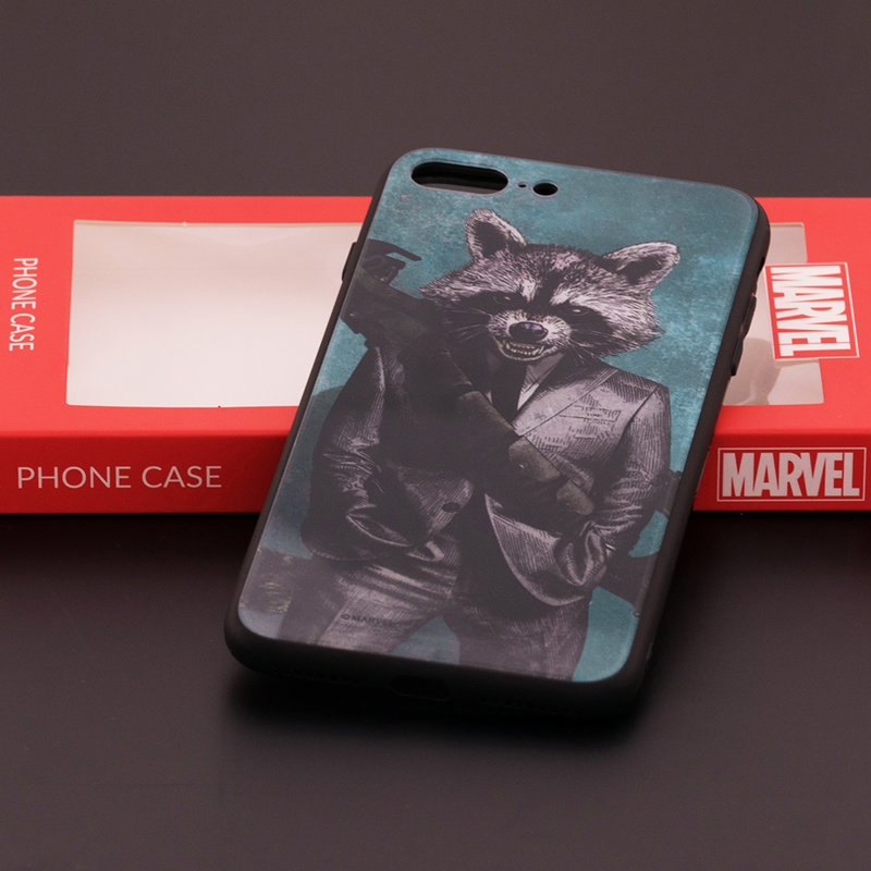 Husa iPhone 7 Plus Premium Glass Cu Licenta Marvel - Rocket