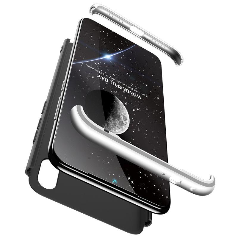 Husa Xiaomi Redmi Note 7 GKK 360 Full Cover Negru-Argintiu