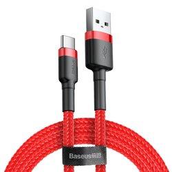 Cablu de date Type-C Baseus Cafule 2M Lungime Cu Invelis Textil - Rosu CATKLF-H09