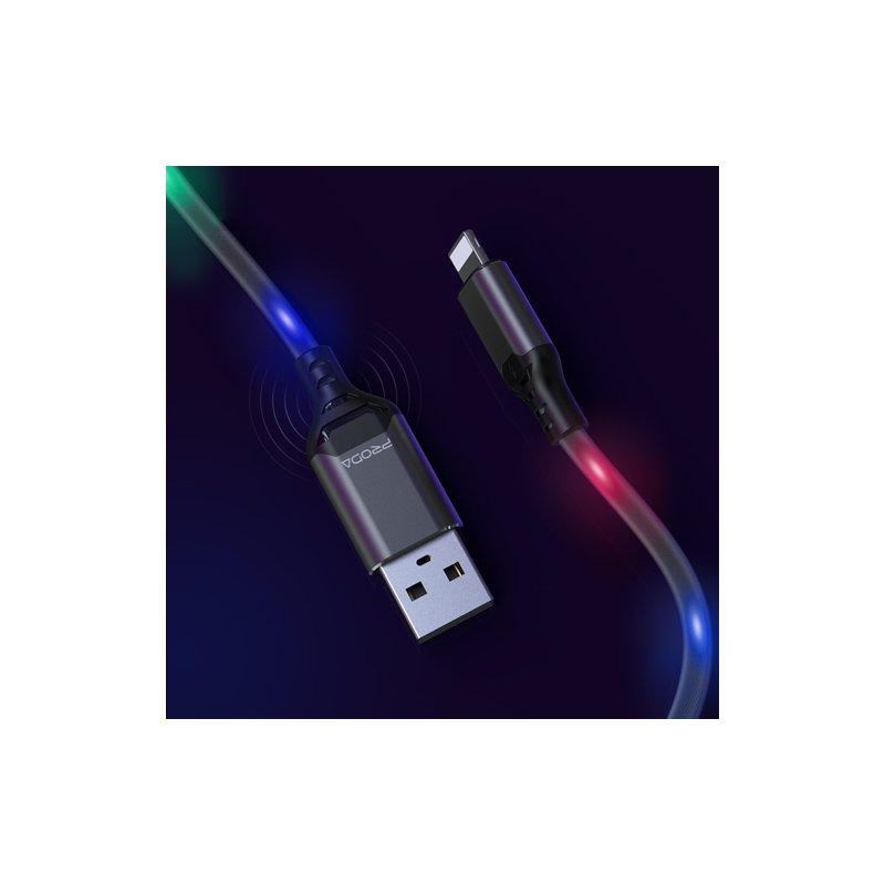 Cablu de date Type-C Cu LED-uri Activate De Sunet, Proda - Alb
