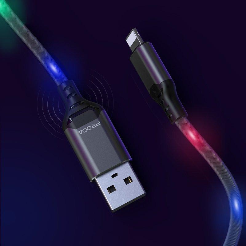 Cablu de date Type-C Cu LED-uri Activate De Sunet, Proda - Gri