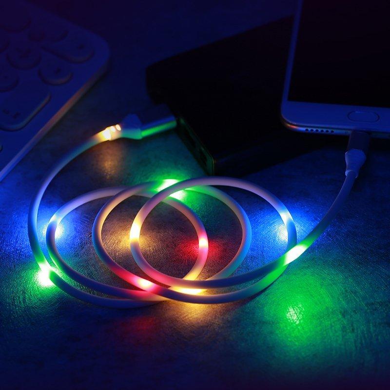 Cablu de date Micro-USB Cu LED-uri Activate De Sunet, Proda - Alb