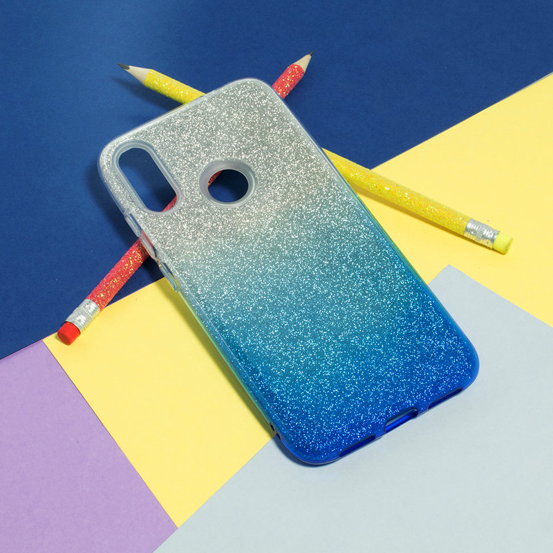 Husa Xiaomi Redmi Note 7 Gradient Color TPU Sclipici - Albastru