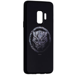 Husa Samsung Galaxy S9 Premium Glass Cu Licenta Marvel - Black Panther Logo