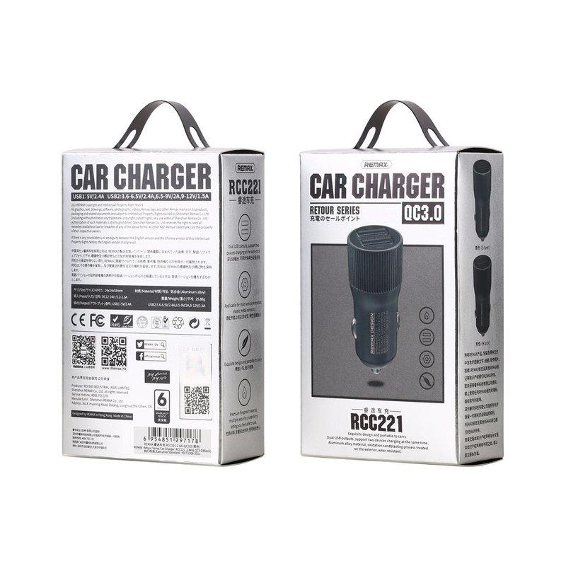 Incarcator Auto Remax Retour Series Dual USB 3.2A - Gri