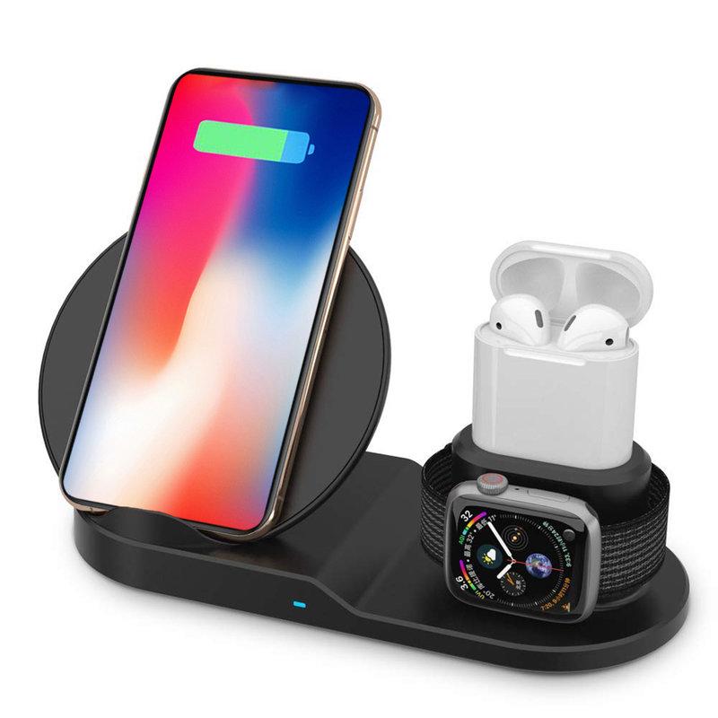Suport Birou Tip Docking Wireless 10W 3in1 Pentru Apple (telefon, smartwach, airpods) - Negru