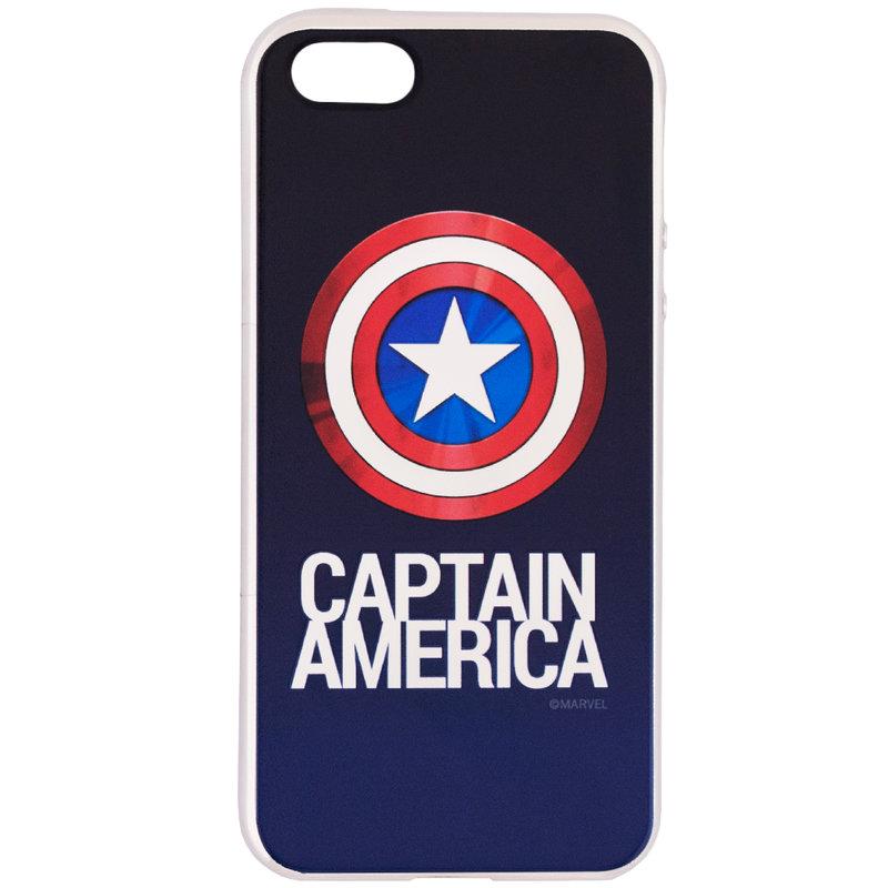 Husa iPhone 5 / 5s / SE Cu Licenta Marvel - Chrome Captain Silver