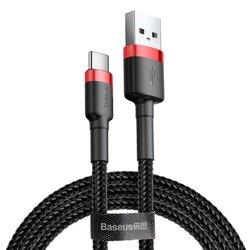 Cablu de date Type-C Baseus Cafule 0.5M Lungime Cu Invelis Textil - Negru - Rosu CATKLF-A91