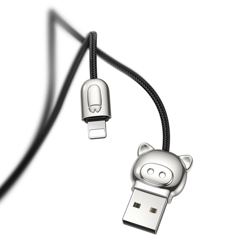 Cablu de date 1.2M 3in1 Baseus Little Pigs USB-C, Lightning, Micro-USB - Negru CAMLT-PG01