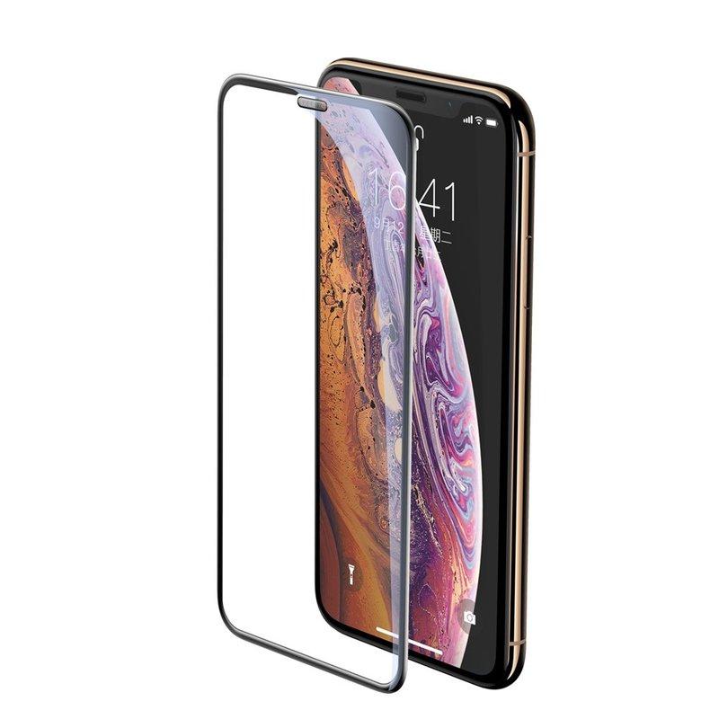 Folie Sticla Curbata iPhone XS Baseus Speaker Dust Protector -SGAPIPH58-WA01- Black
