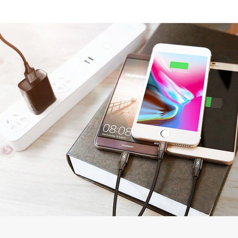 Cablu de date 1.2M 3in1 Baseus Rapid 2x Lightining, 1x Micro-USB - Negru CAMLT-SU01