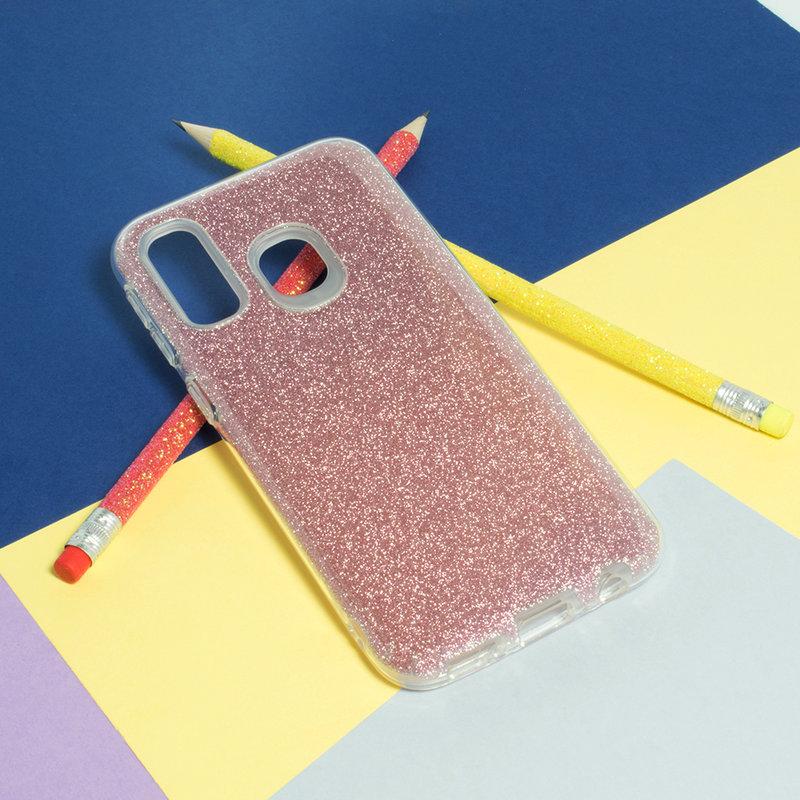 Husa Samsung Galaxy A40 Color TPU Sclipici - Roz