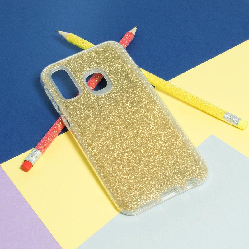 Husa Samsung Galaxy A40 Color TPU Sclipici - Auriu